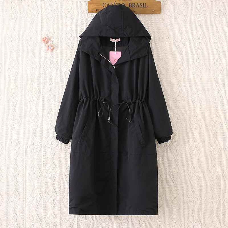 Women Long Trench Coat 2019 Autumn New Black Windbreaker Hooded Outerwear Ladies Casual Loose Casacos Femininos Large Size R809