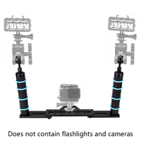Dual Dive Handle Aluminium Tray Stabilizer Rig Arm System Tray for Underwater Camera Housing Case Fill flashlight Mount