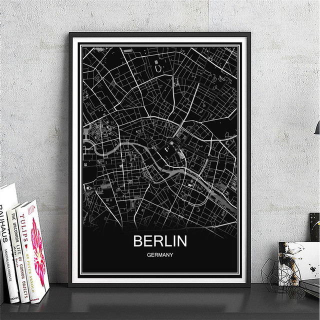 Modern abstract canvas coated paper berlin world map city poster oil painting print picture living room