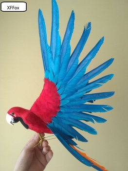 cute real life blue&red wings parrot model foam&feather simulation parrot bird gift about 35x50cm xf0262