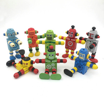 2018 Novelty Wooden Robot Toy Learning Transformation Colorful Wooden  Newyears Present Joint Moved Deformation Robot Toys Q1 赤ちゃん ボンネット