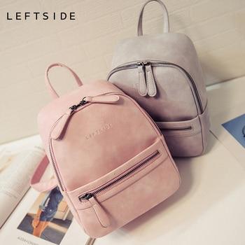 Women Backpack New Fashion Casual PU Leather Female feminine backpack for teenage  girls school bag solid mini Small backpack e3dd47017fe72
