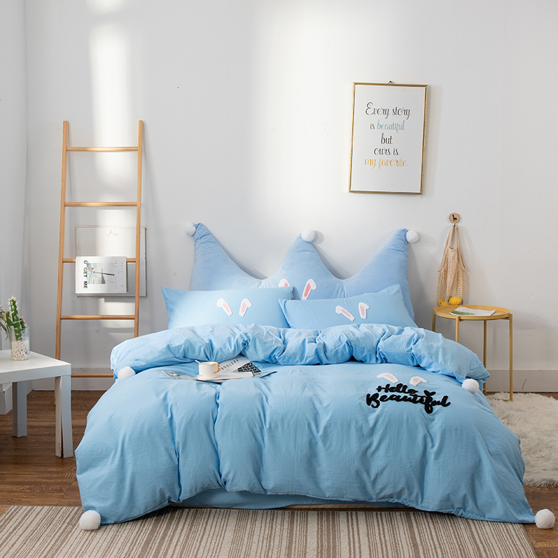 Pastoral Bedding Set Solid Embroidery Duvet Cover Pillowcases Flat Bedsheet Rabbit Ear Picture Home Textile Full Twin QueenPastoral Bedding Set Solid Embroidery Duvet Cover Pillowcases Flat Bedsheet Rabbit Ear Picture Home Textile Full Twin Queen