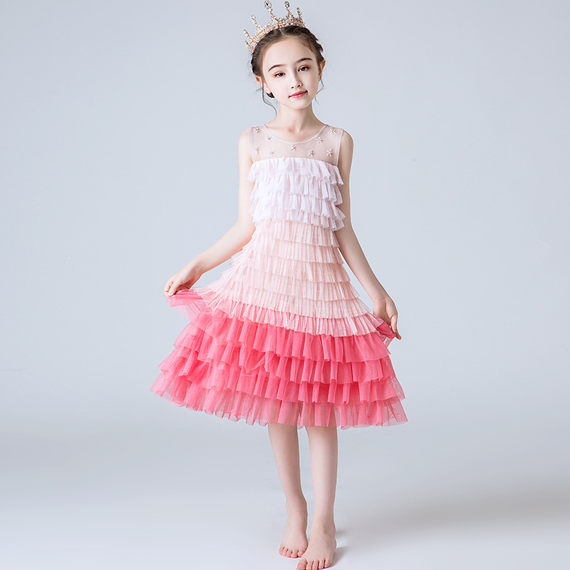 Big Girls Gradient Color Ball Gown Dress Children 2019 New Wedding Birthday Princess Lace MEsh Tulle