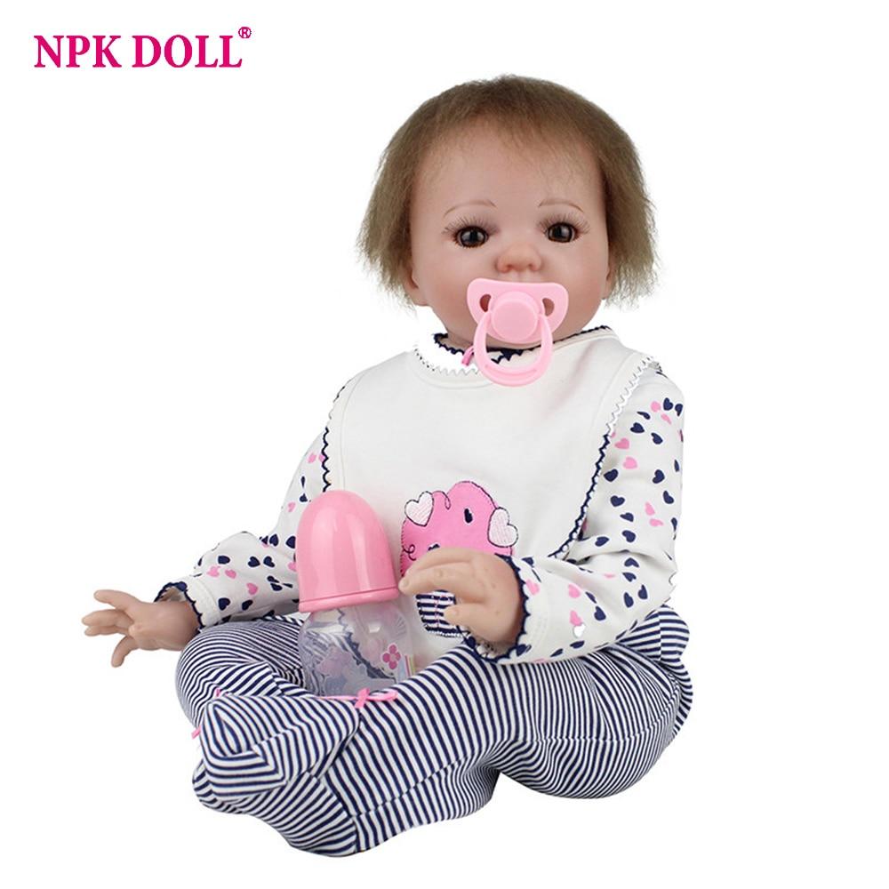 55 cm réaliste bambin poupée Reborn bébé fille avec sucette magnétique Silicone Vinly Bebe poupées enfants nouvel an cadeau Juguetes
