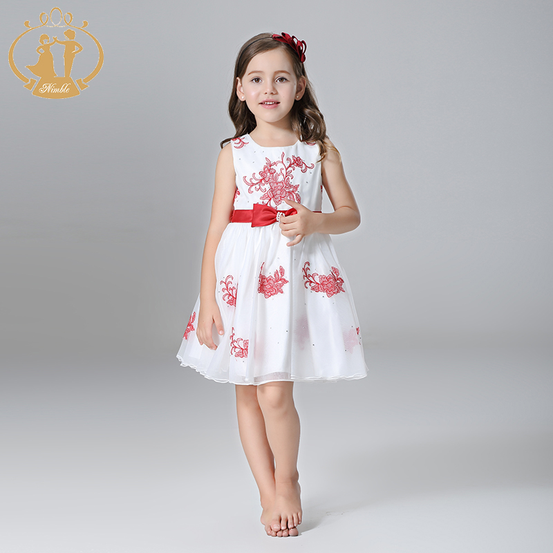 Nimble  Summer Girls Dress Party Princess Wedding Girls Dress  Flowers Embroidery Beaded  Orangza Satin Clothes