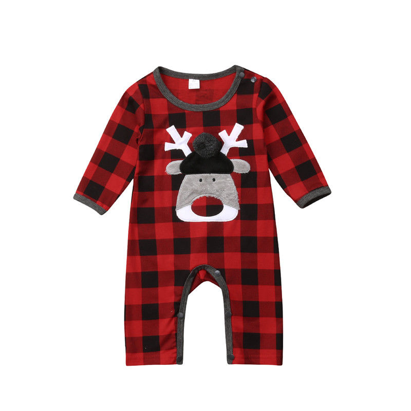 Christmas Toddler Baby Boy Girl Long Sleeve Plaid   Romper   Deer Jumpsuit Sunsuit Outfits Clothes