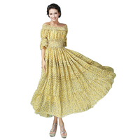 2017 Off Shoulder Boho Dress High Quality Women's Yellow Flare Sleeve Backless Pinup Long Chiffon Beach Dresses vestidos femme
