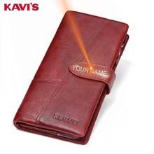 KAVIS гравировка натуральная кожа Женский кошелек портмоне женский Portomonee леди длинный удобный держатель для карт клатч подарок для имени