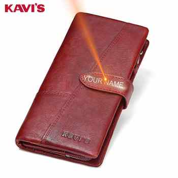 KAVIS Free Engraving Genuine Leather Women Wallet Coin Purse Female Portomonee Lady Long Handy Card Holder Clutch Gift for Name - DISCOUNT ITEM  50% OFF All Category