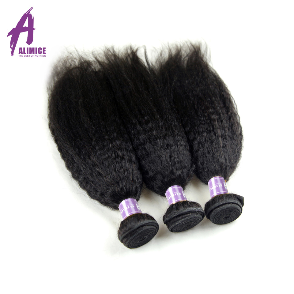 Indian Kinky Straight Hair 3 Bundles Human Hair Weave Bundles Coarse Yaki Hair Natural Color Alimice Non Remy Hair Extensions