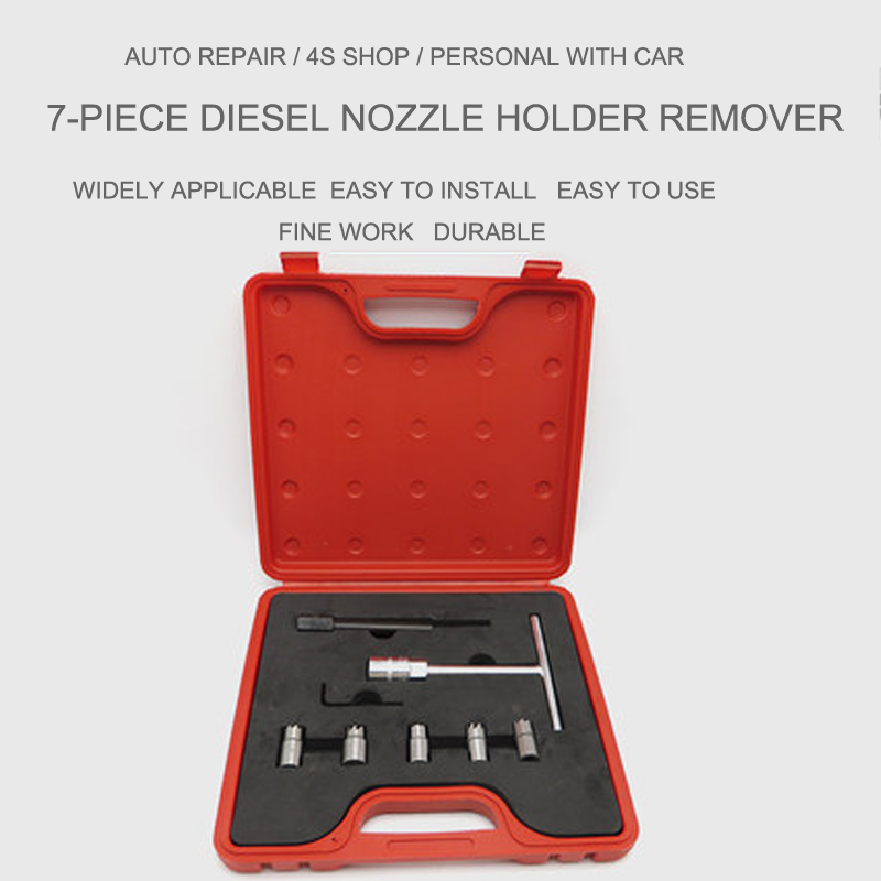7PCS Fuel Engine Diesel Injector Seat Cutter Set Carbon Decarbonise Cleaning Injectors Changing Auto Car Repair Tool Garage