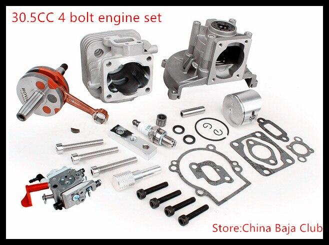 30.5CC 4 bolt engine set (with 30.5CC cylinder+30.5cc crankshaft assembly+ruixing spark plug) for 1/5 hpi baja 5b parts km rovan