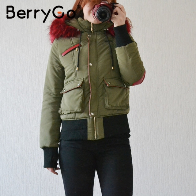 BerryGo Hood fur padded parka winter jacket women coat Warm pocket zipper overcoat Thick snow wear jacket coat female 2017