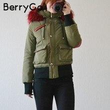 506eaa5ad75e3c BerryGo Cappuccio di pelliccia parka imbottito donne del rivestimento di  inverno Caldo cappotto tasca della chiusura