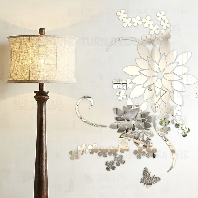 Creative DIY 3d Pansy Large Flower Wall Decals Acrylic Decorative Mirror  Sticker For Living Room Bedroom Part 54