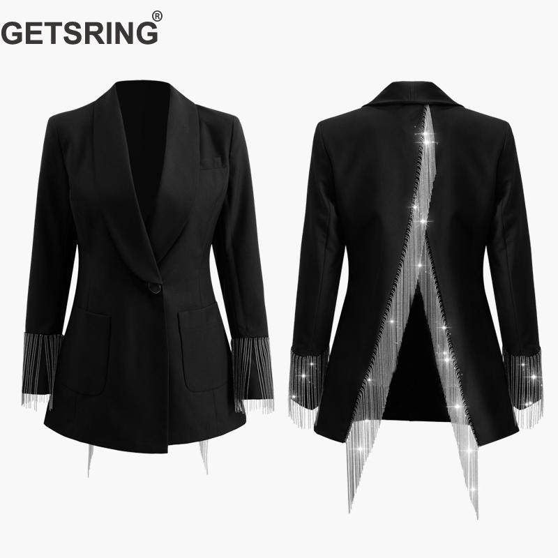 GETSRING Women Blazer Jackets Irregular Womens Blazers Long Sleeve Womens Jackets Tassel Split Suit Blazer Suit Coat Spring