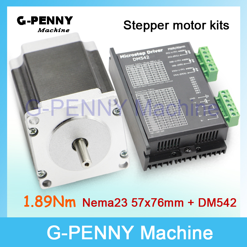 New! NEMA23 CNC Stepping Motor 57x76mm shaft 6.35mm single shaft 1.89N.m 270Oz-in 3A& DM542 M542 1.0-4.2A DC24-50v Microstep 256