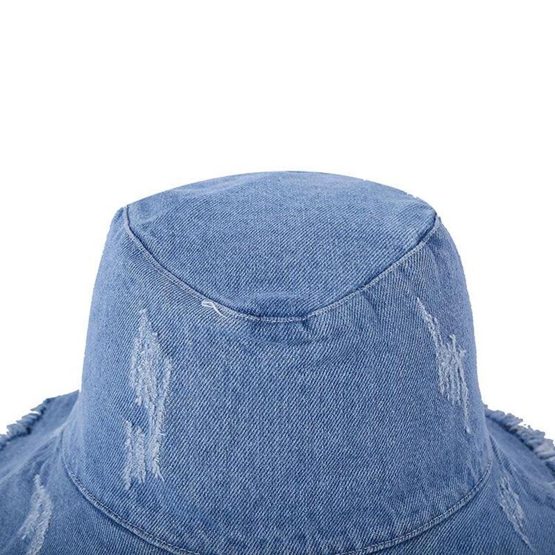 2019 Summer Washed Denim Wide Brim Foldable Sun Hat Men Women Tassel Floppy Cap Anti UV Beach Bucket Hats Female Hiking Cap in Men 39 s Bucket Hats from Apparel Accessories