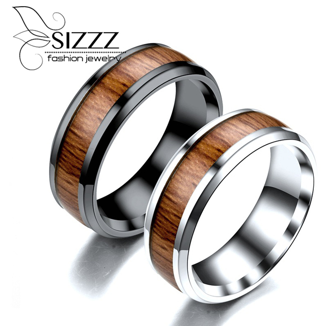 Sizzz 316l Stainless Steel Finger Rings Durable Vintage Anium 8mm Ring Wood Grain