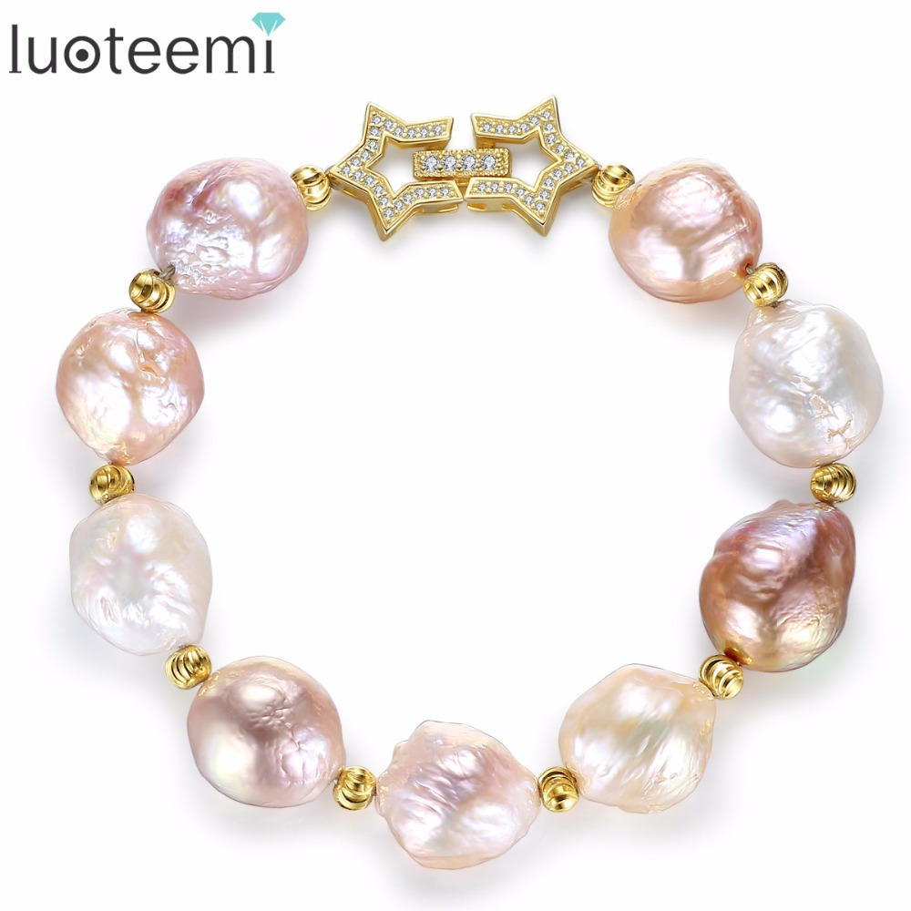 LUOTEEMI Gorgeous Multicolor Bright-color Elegant Graceful Sterling Silver Freshwater Natural Pearl Bracelet For Women Party graceful sleeveless pointelle solid color dress for women