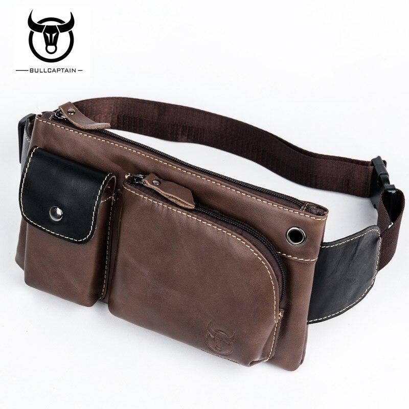 BULLCAPTAIN Genuine Leather Waist Packs Fanny Belt Bag Phone Leather Pouch Bags Travel Shoulder Bag Male Small Waist Bag NCZ042