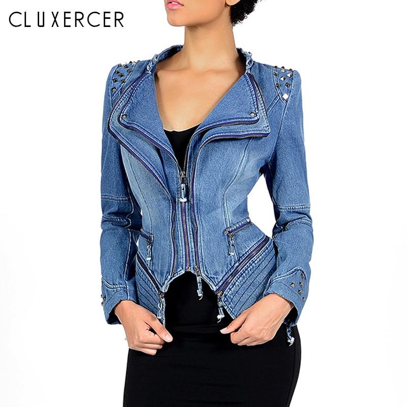 Mode Jeans veste 2018 Automne Hiver Zipper Vestes Femmes Plus Taille Streetwear Steampunk Style Rivet Mince Dames Veste