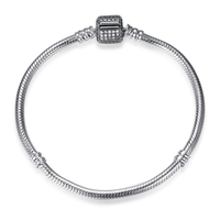 Authentic 925 Sterling Silver Full Clear Pink Blue Crystal Snake Chain Bracelets Fit Women Pan Charms Bead Bracelet