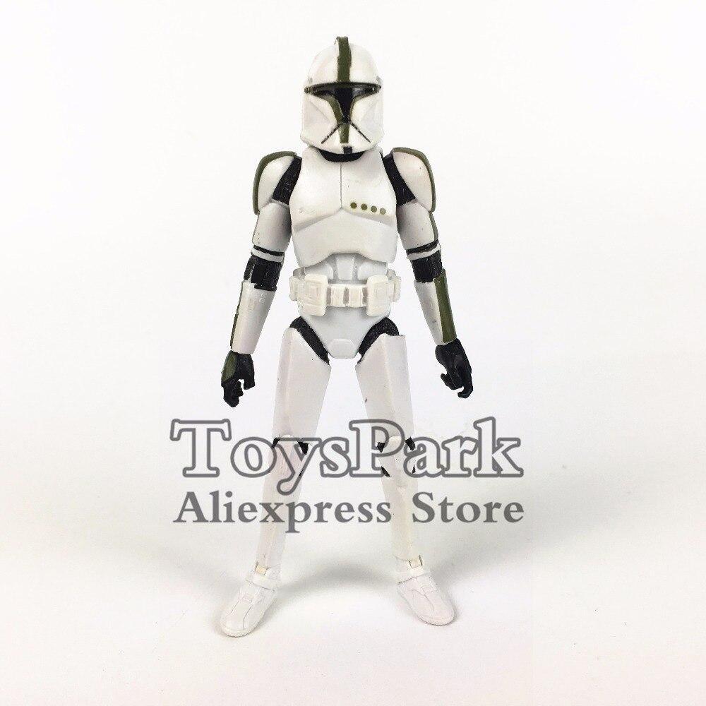 "Star Wars Republic Clone Trooper Sergeant Green White 6/"" Loose Action Figure"