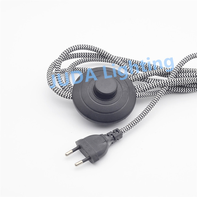 Delightful EU 2 Pin Electric Power Lamp Power Cord Wire With Foot Switch Korea Round  Plug Extension