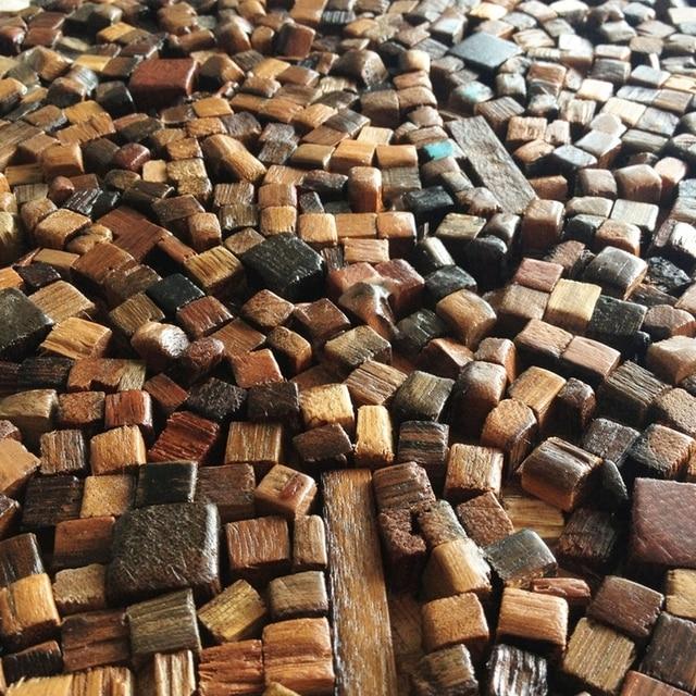 New Design Natural Wood Tile Wall Pattern Kitchen Backsplash Mosaic Panel Irregular Floor Tiles