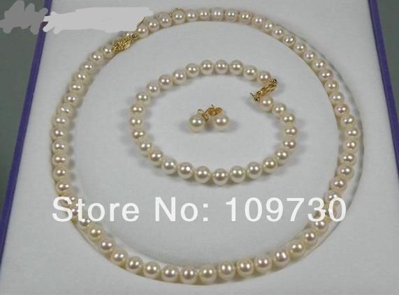 Free Shipping Jewelry  GORGEOUS ROUND 6mm AAA+ WHITE AKOYA PEARL BRACELET EARRING SET  18Free Shipping Jewelry  GORGEOUS ROUND 6mm AAA+ WHITE AKOYA PEARL BRACELET EARRING SET  18