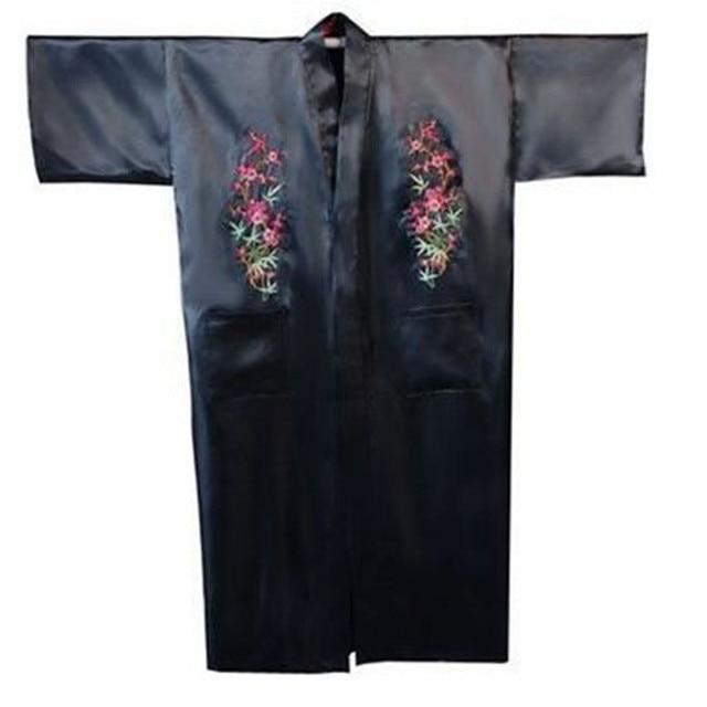 Hot Sale Black Chinese Men's Satin Robe Embroidery Flower Kimono Bath Gown Spring Autumn Nightwear Size S M L XL XXL XXXL
