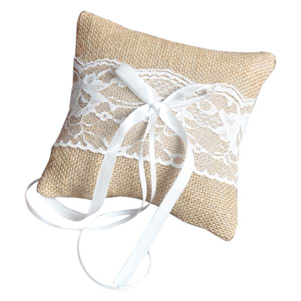 Practical Boutique Vintage Jute Rustic Wedding Ring Pillow 6 inch x