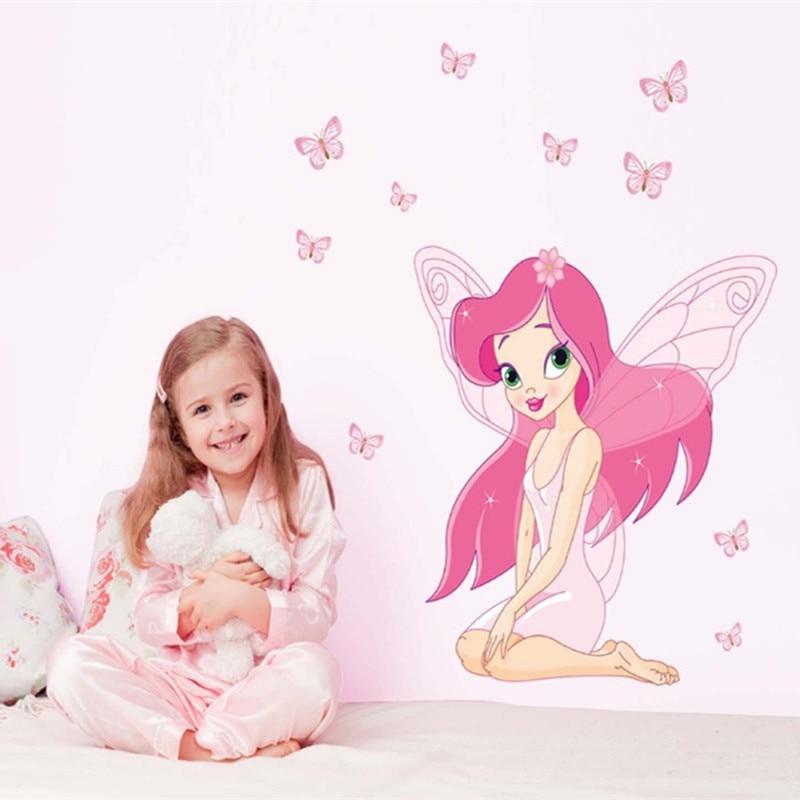 Angel Butterfly Girl Sienas uzlīmes Bērnu istaba Bērnu guļamistabas sienu uzlīmes Mājas rotājumi Bērnu dāvanas Bērnu stila fona attēli Uzlīmes