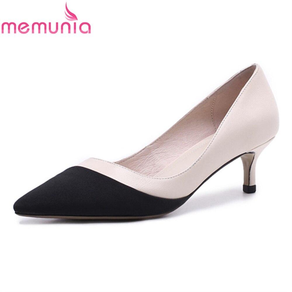 MEMUNIA high heels shoes ladies pumps spring autumn high quality hot sale pointed toe elegant sheepskin dress shoes memunia spring autumn hot sale genuine