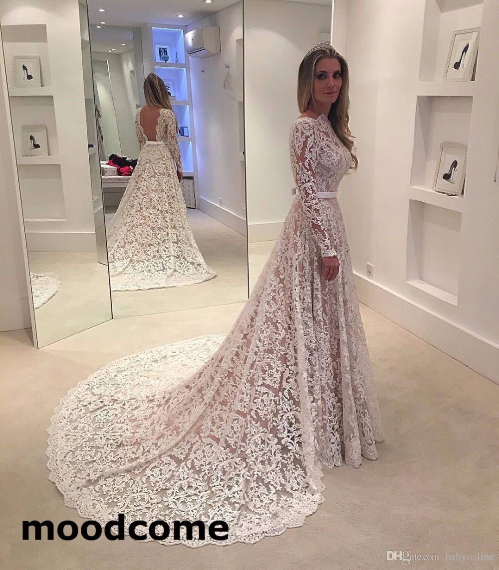 2019 Wedding Dresses With Sleeves: Robe De Soiree Long Sleeves 2019 Lace Wedding Dresses