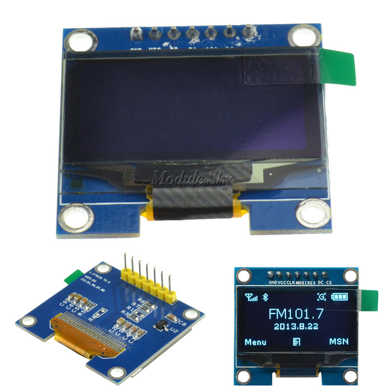"1.3/"" SPI Serial 128x64 Blue OLED LCD Display Screen Module For Arduino"