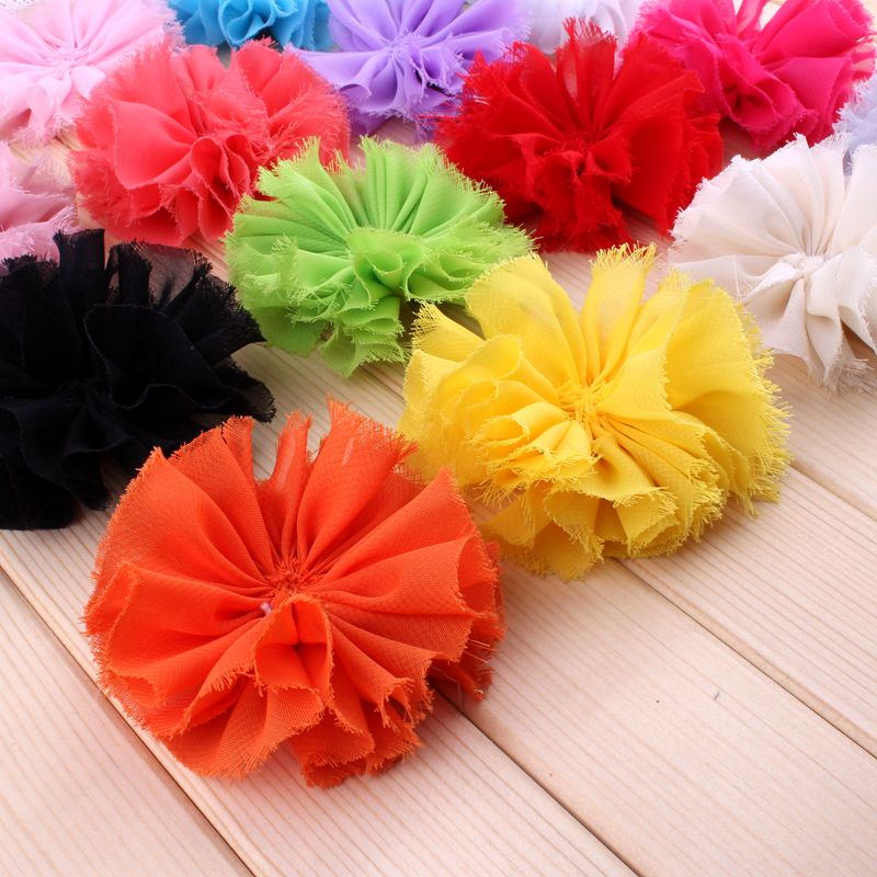 (30pcs/lot)3 16 Colors Classic Chiffon Flower For Children Accessories Ruffed Satin Shabby Flower For Decoration