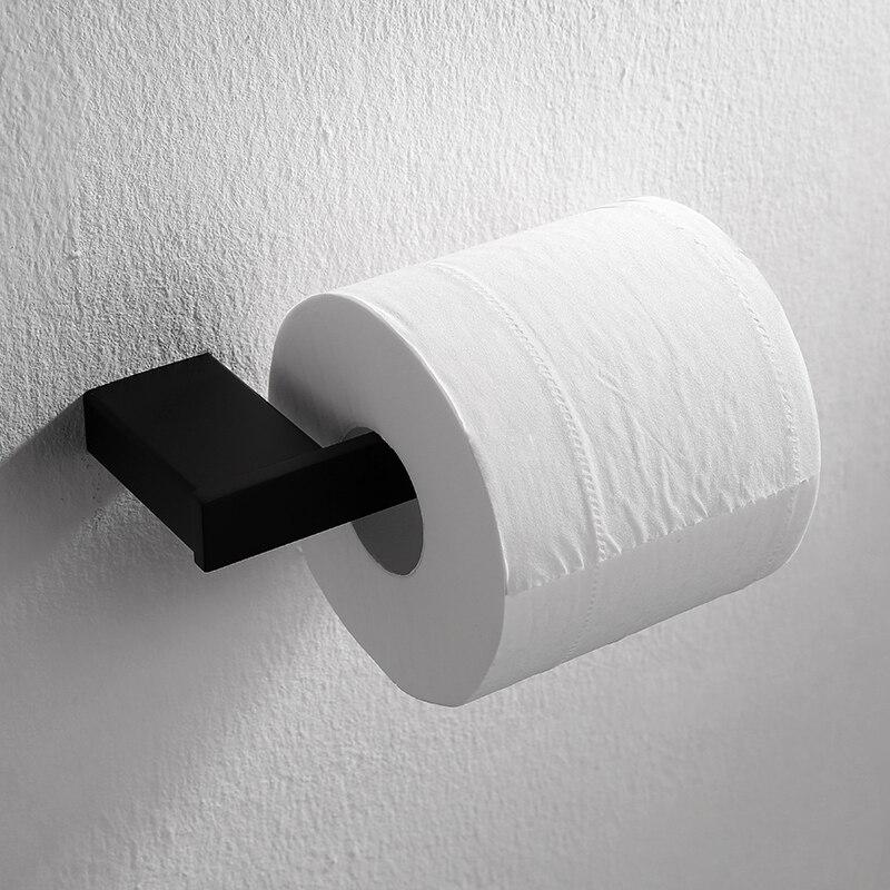 שחור מודרני 304 נירוסטה רול חדר רחצה מחזיק נייר טואלט מחזיק חומת הר אביזרי אמבטיה מרובעת