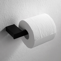 Modern Black 304 Stainless Steel Toilet Paper Holder Bathroom Toilet Roll Holder Wall Mount Square Bathroom Accessories