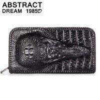 Дизайнер мужской из натуральной кожи бумажник аллигатора голова классический многоцелевой кошелек для мужчин Роскошные кошельки большого