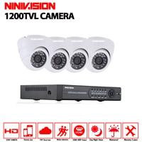 4CH 1080P HDMI DVR 1200TVL 720P HD Dome Indoor Security Camera System 4 Channel CCTV DVR