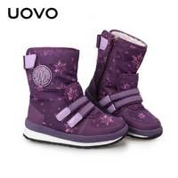 Boys Girls Winter Shoes Black Purple Zipper Closure Children Snow Boots Thick Plush Lining Warm Slip resistant Botas Size 30 38