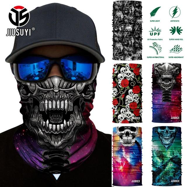 3D Seamless Neck Gaiter Scarves Bandana Skull Skeleton Ghost Half Face Mask Neck Tubular Magic Headband Bicycle Face Shield