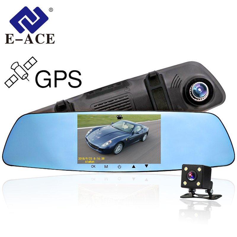 E-ACE 5.0 Pouces Voiture DVR Avec GPS Rétroviseur Double Lentille 1080 P Super Nuit Vision Vidéo Enregistreurs Auto greffier Dash Caméra