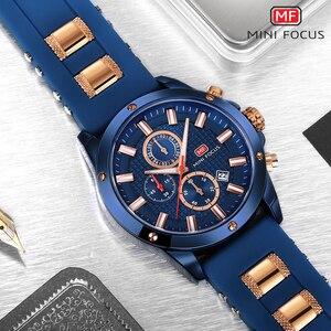 Image 4 - מיני פוקוס שעון גברים הכרונוגרף למעלה מותג יוקרה קוורץ ספורט שעונים צבא צבאי סיליקון רצועת שעון יד זכר כחול שעון
