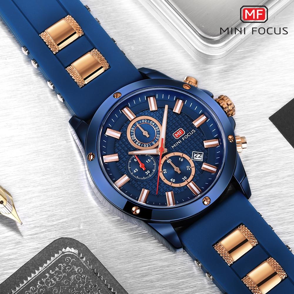 MINI FOCUS Watch Men Chronograph Top Brand Luxury Quartz Sports Watches Army Military Silicone Strap Wrist Watch Male Blue Clock