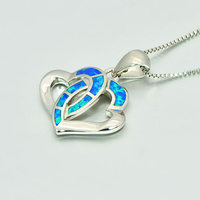 Double Heart Pendants Blue Fire Opal Necklace For Women Romantic Lover Christmas Gifts PJ180219006 3