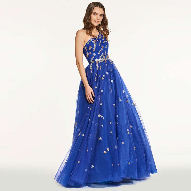 Tanpell blue   prom     dresses   one shoulder sleeveless floor length a line women formal evening custom   prom   gownRobe De Soiree 2019